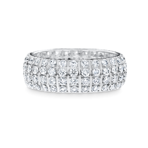 White gold dress ring featuring 4 rows of round brilliant cut diamonds