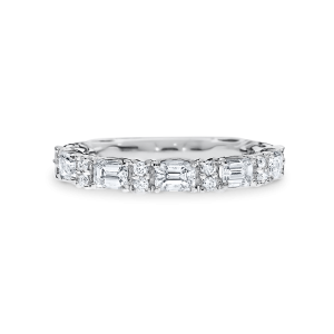 Baguette and round brilliant-cut diamond bands