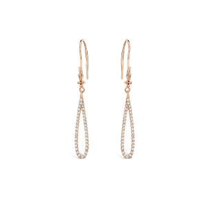 9ct rose gold and diamond drop earrings