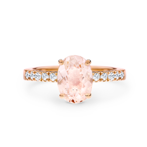Daria oval-cut morganite rose gold ring
