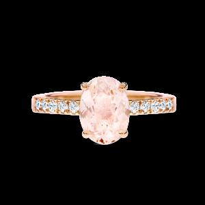 Daria oval-cut morganite rose gold ring