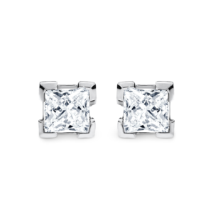 princess-cut diamond White gold earrings