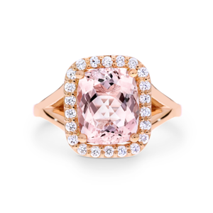 elongated cushion-cut morganite