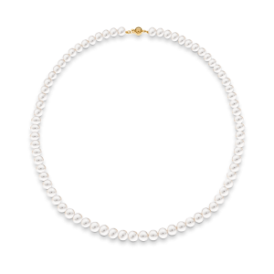 9ct yellow gold clasp White Akoya pearls necklace