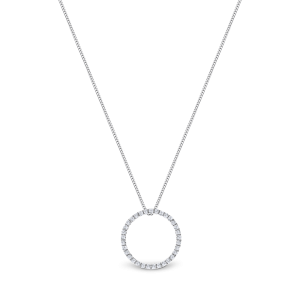 White gold necklace circular motif pendant