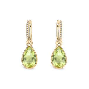 18ct yellow gold quartz drop earrings