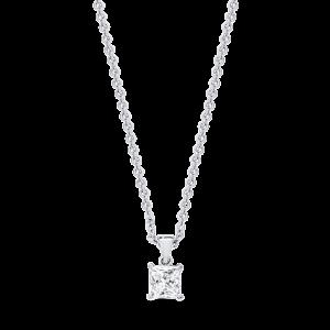 18ct princess-cut diamond pendant