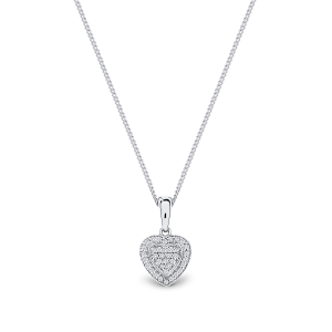 9ct white gold heart shaped pendant