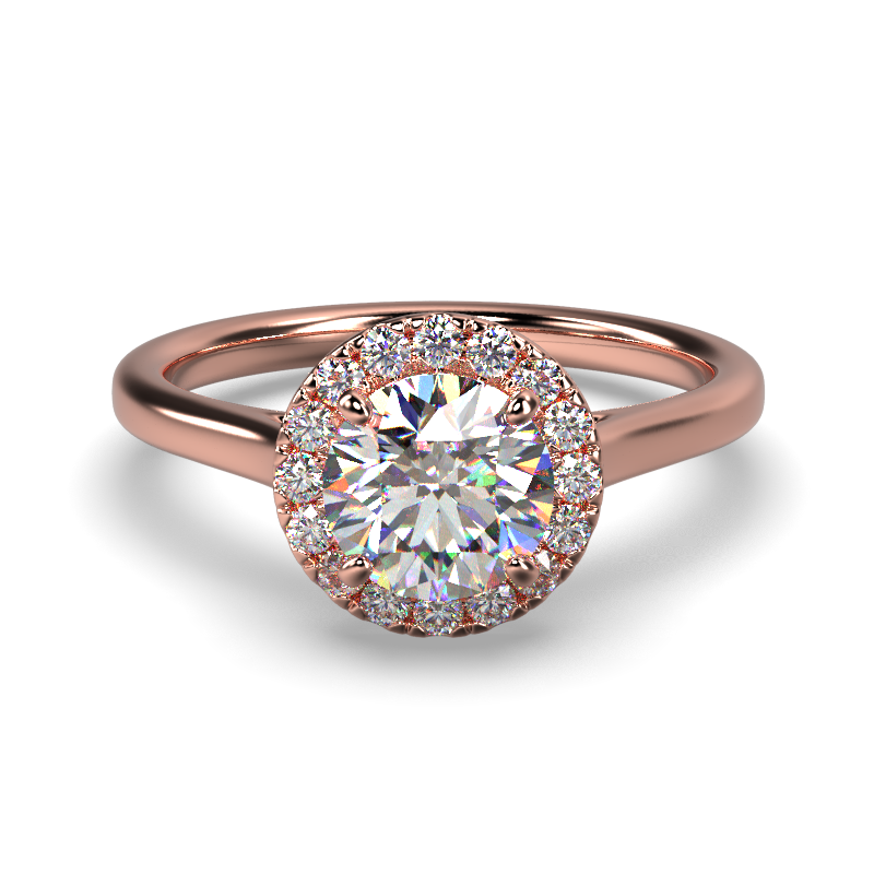 AMELIA ROUND BRILLIANT PLAIN ROSE GOLD FRONT
