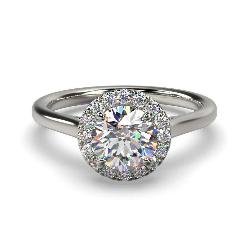 AMELIA ROUND BRILLIANT PLAIN WHITE GOLD FRONT