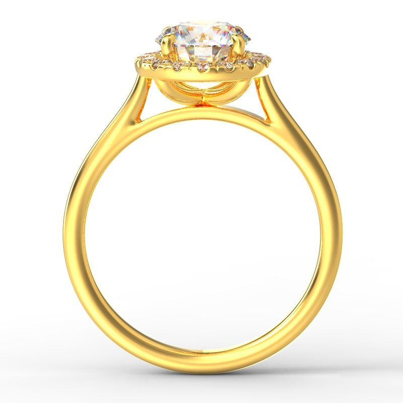 AMELIA ROUND BRILLIANT PLAIN YELLOW GOLD TOP