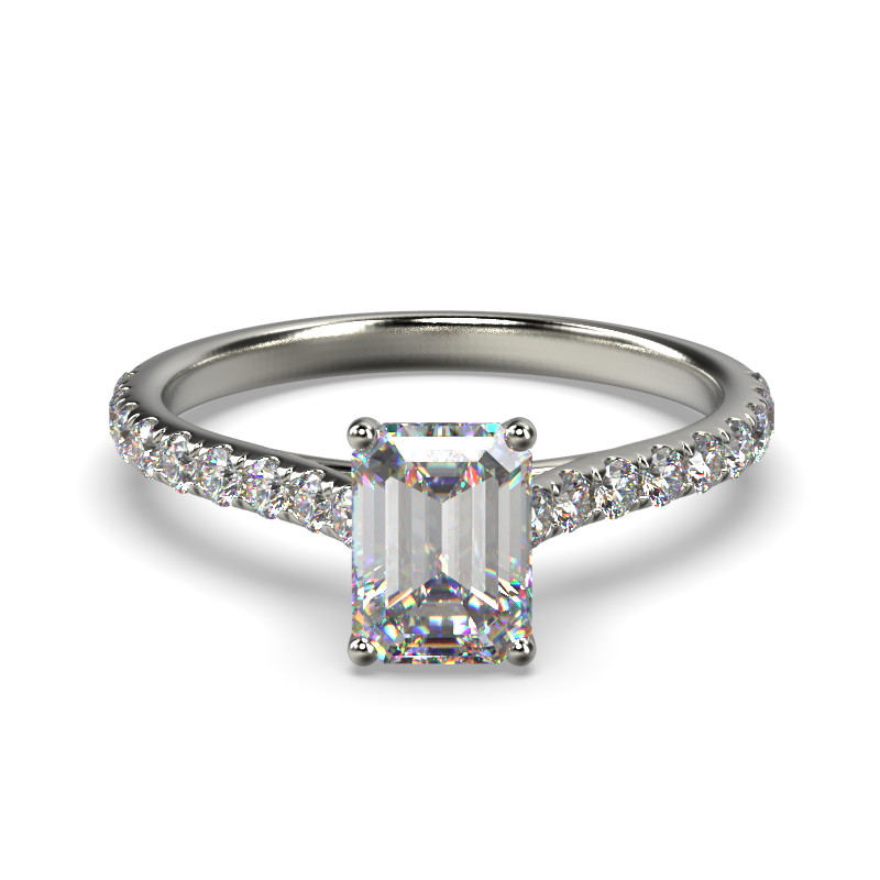 HARPER EMERALD WHITE GOLD 4PRONG FRONT