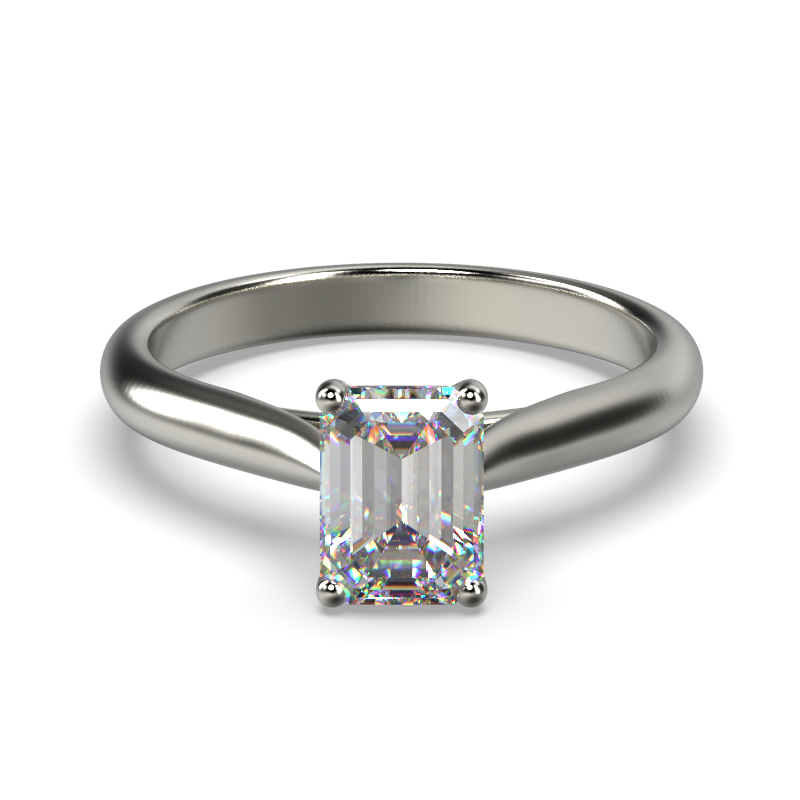 HARPER EMERALD WHITE GOLD 4PRONG SOLITAIRE FRONT