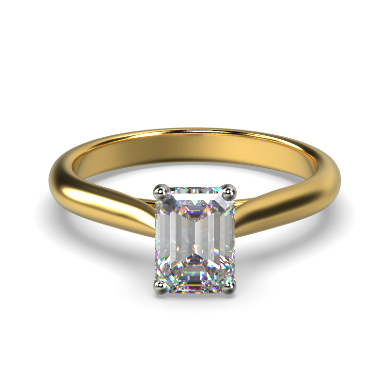 HARPER EMERALD YELLOW GOLD 4PRONG SOLITAIRE FRONT