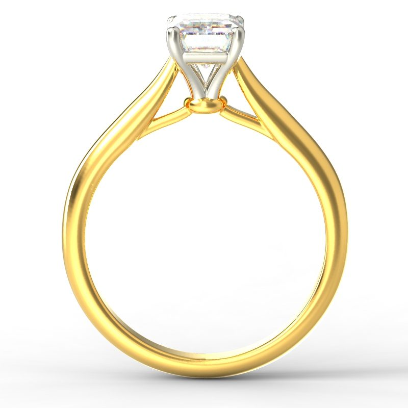 HARPER EMERALD YELLOW GOLD 4PRONG SOLITAIRE TOP