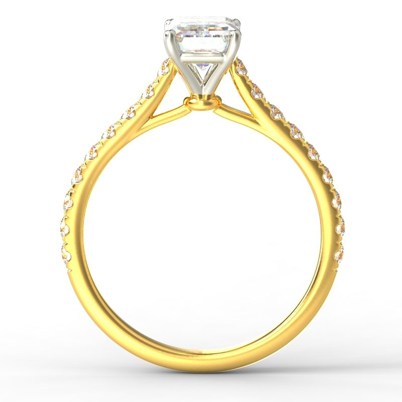 HARPER EMERALD YELLOW GOLD 4PRONG TOP