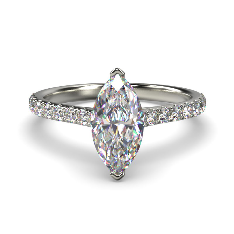 HARPER MARQUISE WHITE GOLD 2PRONG SOLITAIRE FRONT