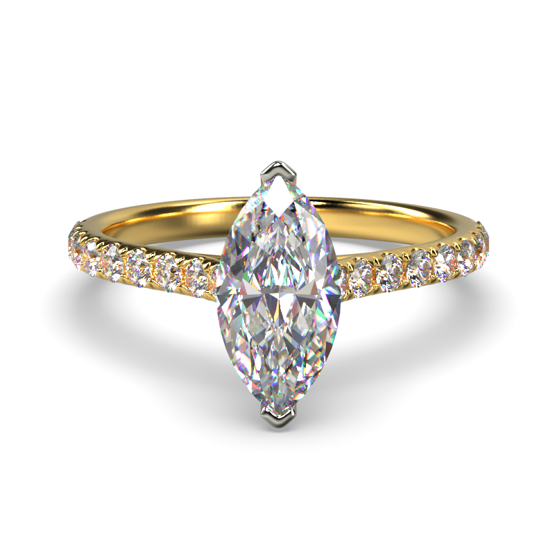 HARPER MARQUISE YELLOW GOLD 2PRONG SOLITAIRE FRONT