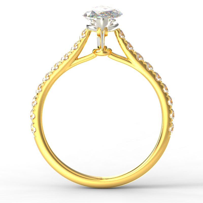 HARPER MARQUISE YELLOW GOLD 2PRONG SOLITAIRE TOP