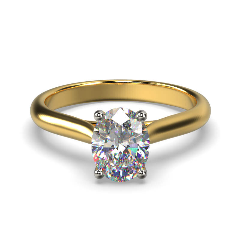 HARPER OVAL YELLOW GOLD 4PRONG SOLITAIRE FRONT