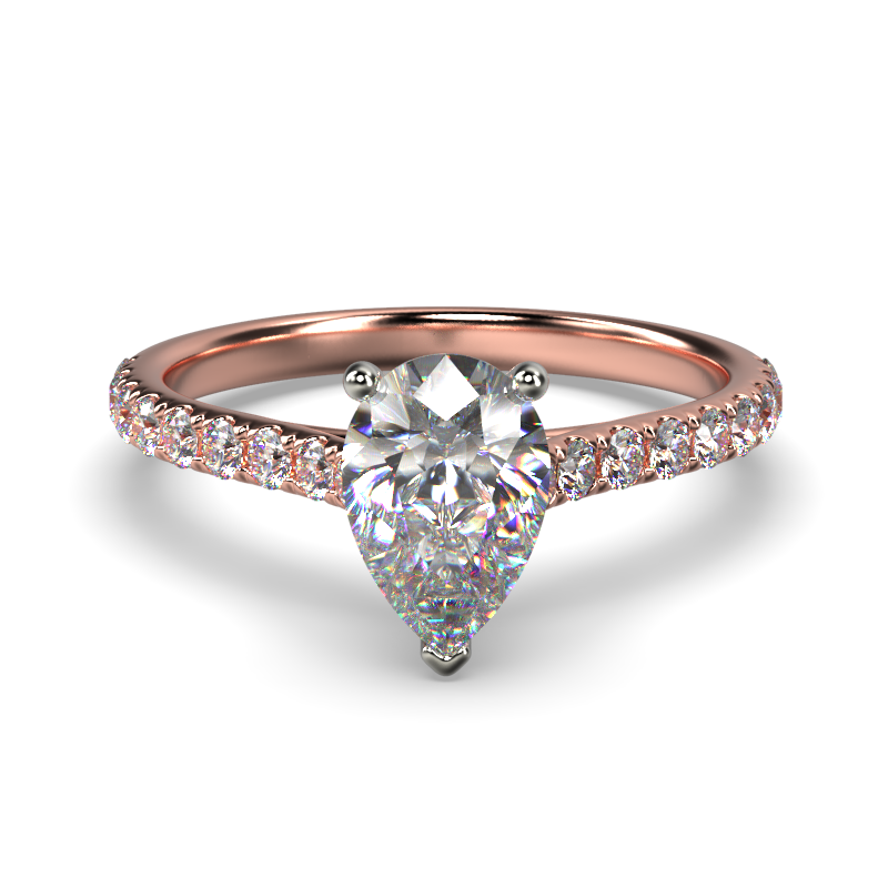 HARPER PEARSHAPE ROSE GOLD 3PRONG FRONT