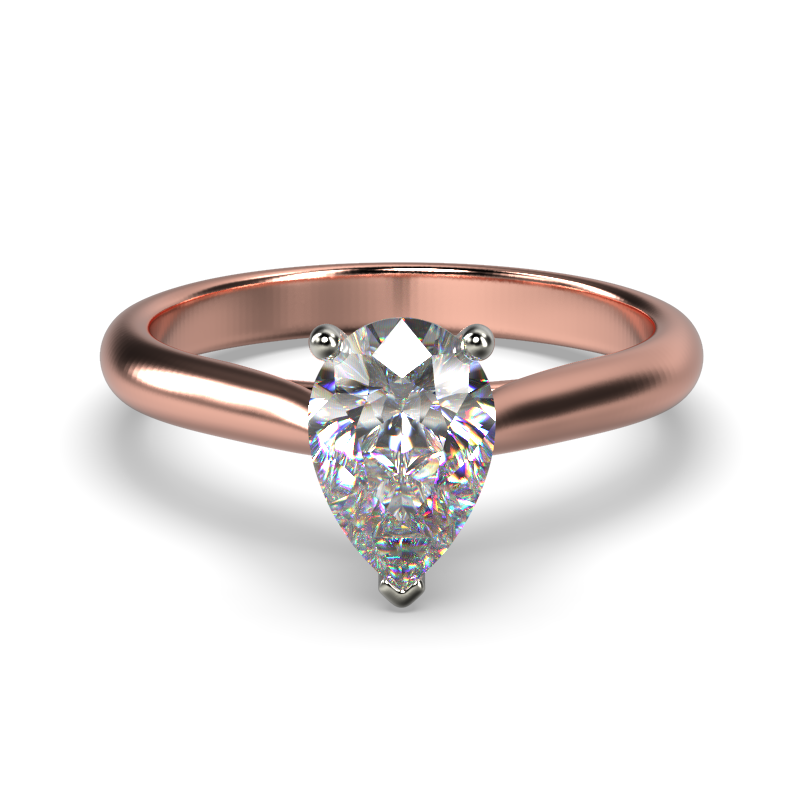 HARPER PEARSHAPE ROSE GOLD 3PRONG SOLITAIRE FRONT