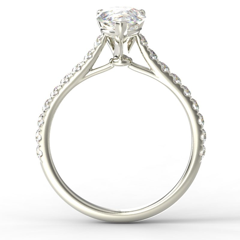 HARPER PEARSHAPE WHITE GOLD 3PRONG TOP
