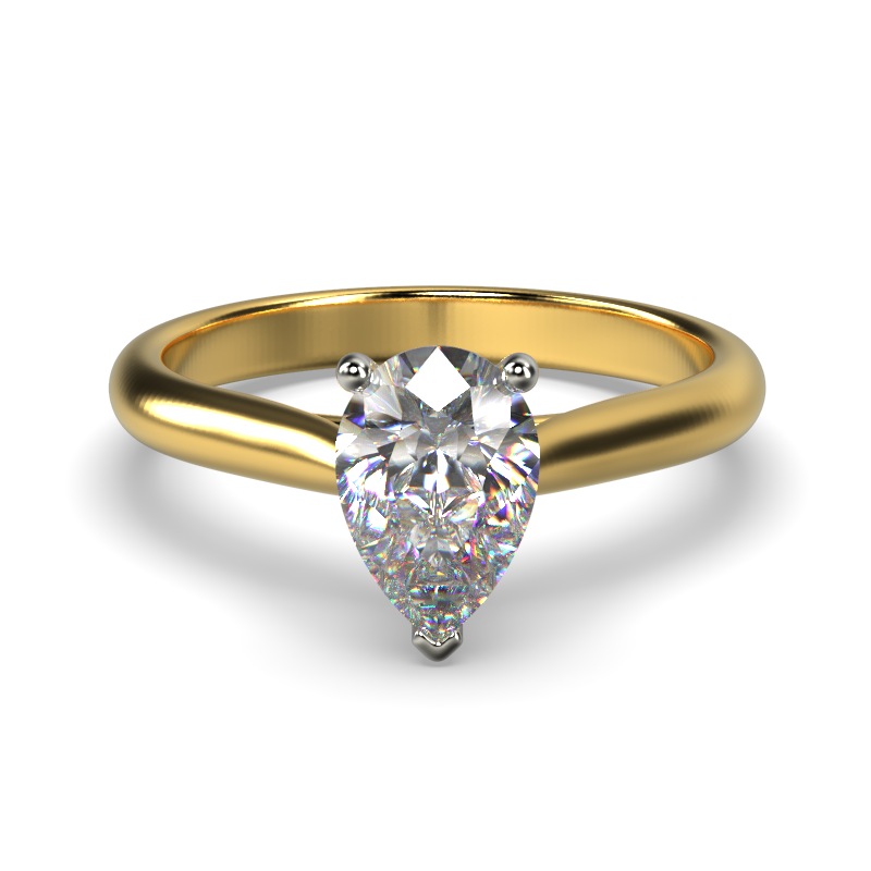 HARPER PEARSHAPE YELLOW GOLD 3PRONG SOLITAIRE FRONT