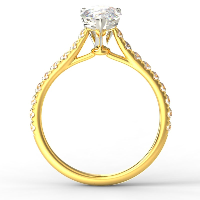 HARPER PEARSHAPE YELLOW GOLD 3PRONG TOP