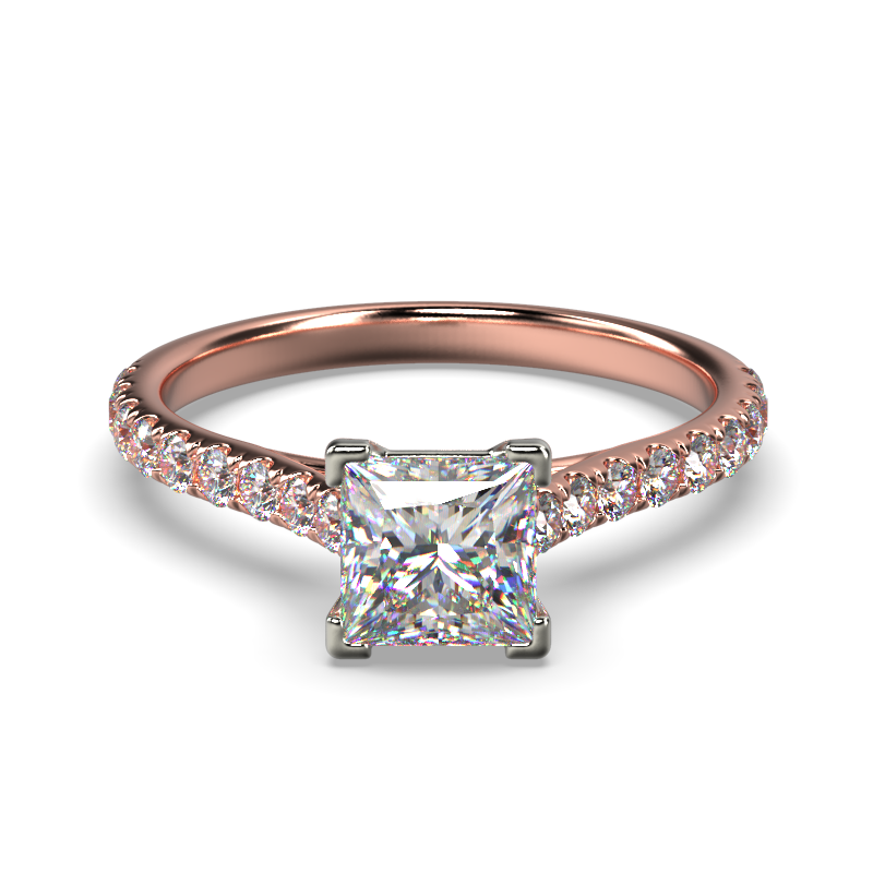 HARPER PRINCESS ROSE GOLD 4PRONG FRONT