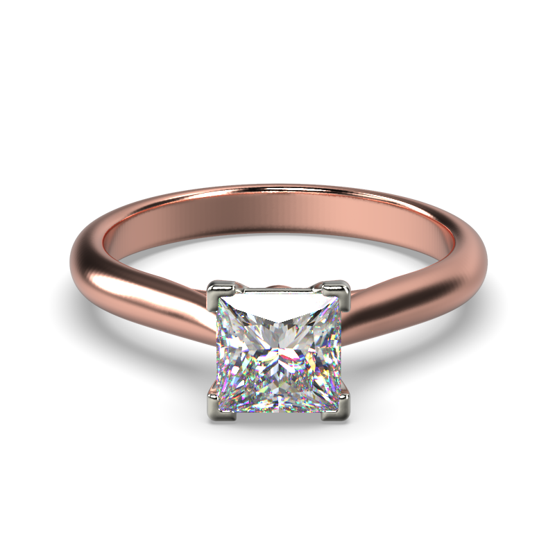 HARPER PRINCESS ROSE GOLD 4PRONG SOLITAIRE FRONT