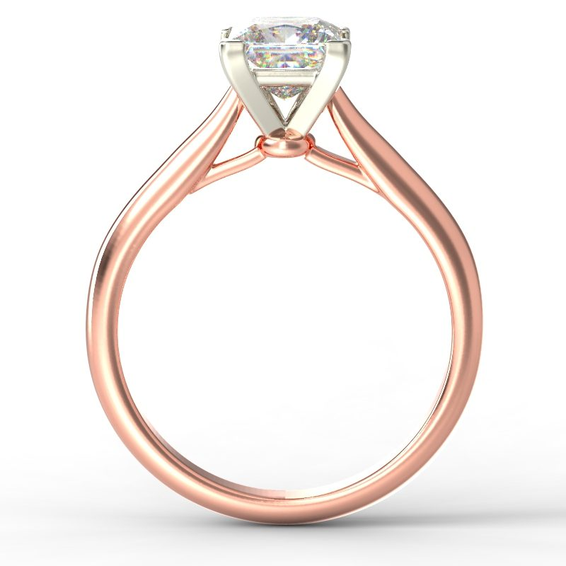 HARPER PRINCESS ROSE GOLD 4PRONG SOLITAIRE TOP