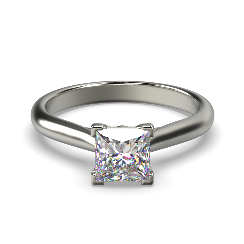 HARPER PRINCESS WHITE GOLD 4PRONG SOLITAIRE FRONT