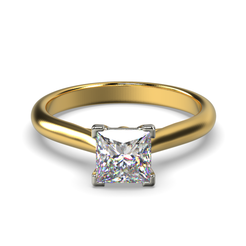 HARPER PRINCESS YELLOW GOLD 4PRONG SOLITAIRE FRONT