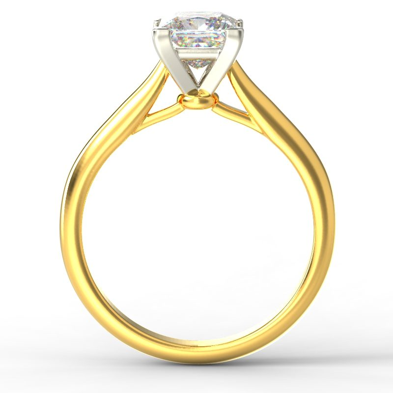HARPER PRINCESS YELLOW GOLD 4PRONG SOLITAIRE TOP
