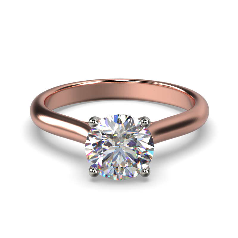 HARPER ROUNDBRILLIANT ROSE GOLD 4PRONG SOLITAIRE FRONT