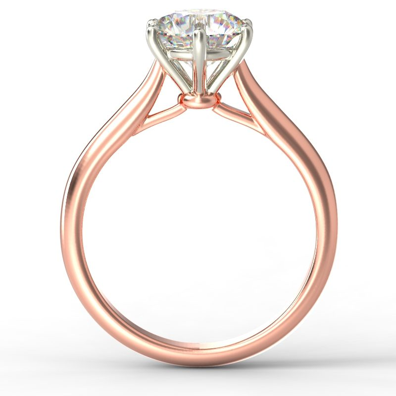 HARPER ROUNDBRILLIANT ROSE GOLD 6PRONG SOLITAIRE TOP