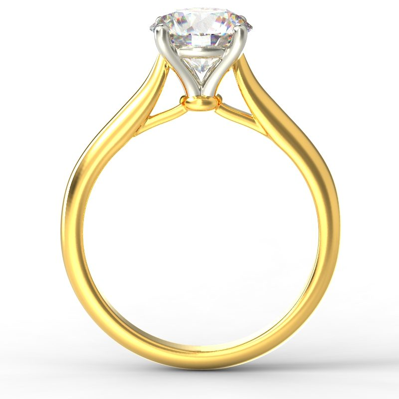 HARPER ROUNDBRILLIANT YELLOW GOLD 4PRONG SOLITAIRE TOP
