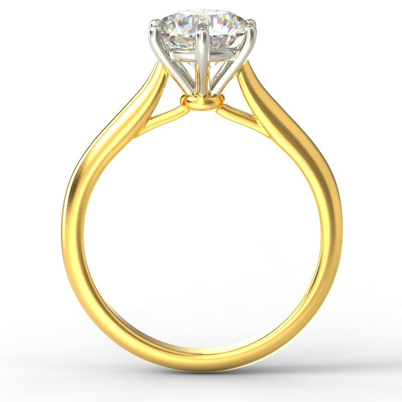 HARPER ROUNDBRILLIANT YELLOW GOLD 6PRONG SOLITAIRE TOP