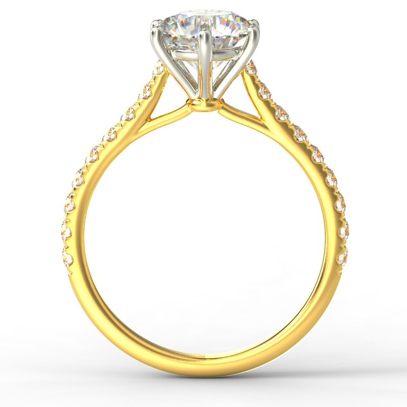 HARPER ROUNDBRILLIANT YELLOW GOLD 6PRONG TOP