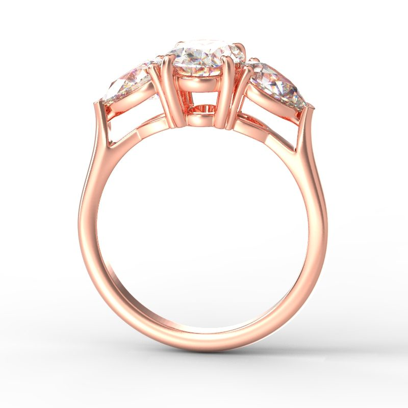 MIA OVAL PEAR SIDES ROSE GOLD TOP