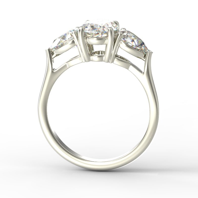MIA OVAL PEAR SIDES WHITE GOLD TOP