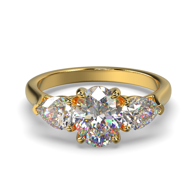 MIA OVAL PEAR SIDES YELLOW GOLD FRONT