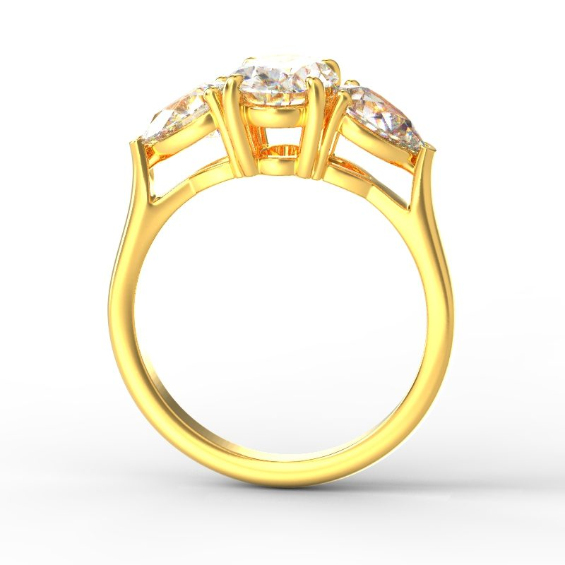 MIA OVAL PEAR SIDES YELLOW GOLD TOP