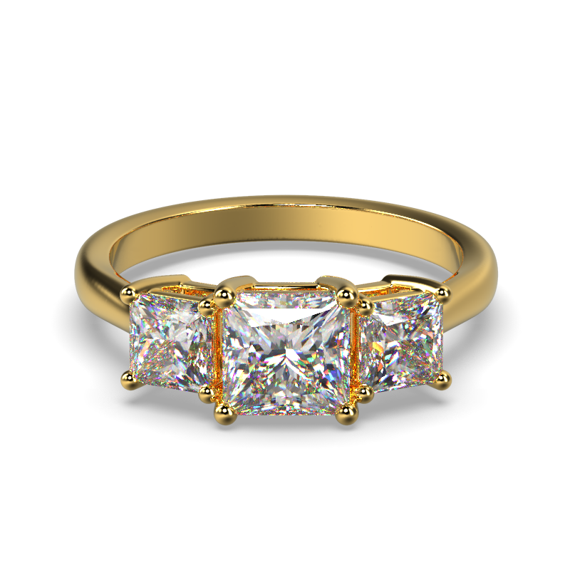 MIA ROUND PRINCESS YELLOW GOLD FRONT