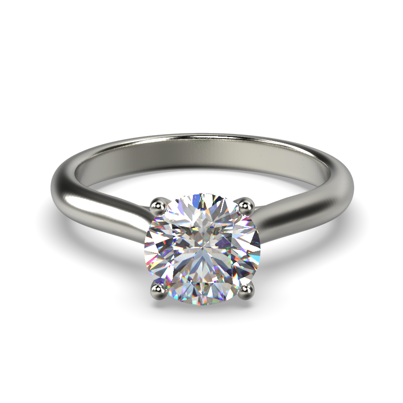 HARPER ROUNDBRILLIANT WHITE GOLD 4PRONG SOLITAIRE FRONT